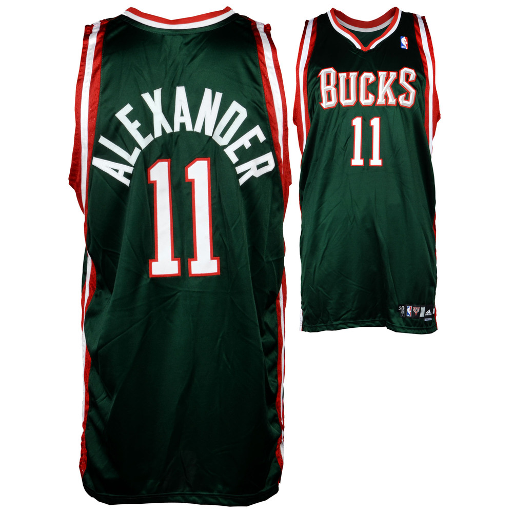 Joe Alexander Milwaukee Bucks Game-Used Green #11 Jersey used during the 2008-2009 Season - Size 50