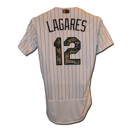 Photo of Juan Lagares #12 - Game Used White Pinstripe Memorial Day Camo Jersey - Mets vs. White Sox - 5/30/16