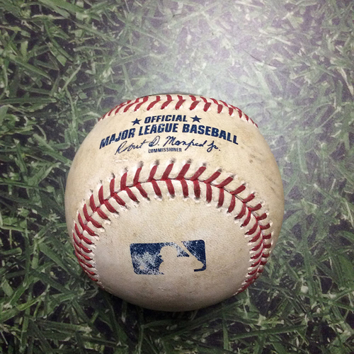 Photo of Game-Used Baseball NYM@MIL 05/27/18 - Zack Wheeler - Manny Pina: Strikeout
