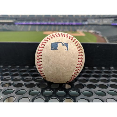 Photo of Colorado Rockies Game-Used Baseball - Marquez v. Donaldson - Double (2) to Daza - April 9, 2019