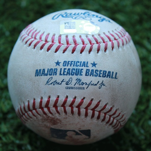 Game-Used Baseball: Michael Perez 9th Career Double and 13th Career RBI (TB @ KC - 4/29/19)