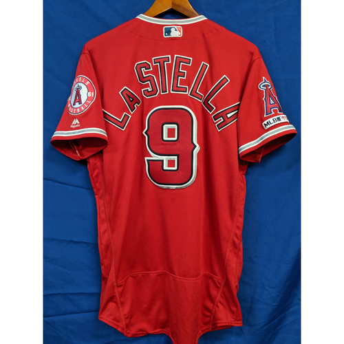 Photo of Tommy La Stella Team-Issued 2019 Alternate Red Jersey