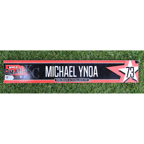 Photo of Team-Issued Locker Nameplate: MLB in Omaha - Michael Ynoa (6/21/19 - DET @ KC)