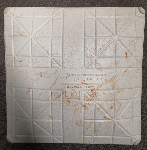 Photo of Authenticated Game Used Base - 3rd Base for Innings 6 to 9 (Aug 31, 14 vs NYY). Derek Jeter's final MLB Game in Toronto