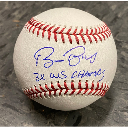 "Photo of Autographed Inscribed Baseball signed by #15 Bruce Bochy - Inscribed ""3x WS Champs"""