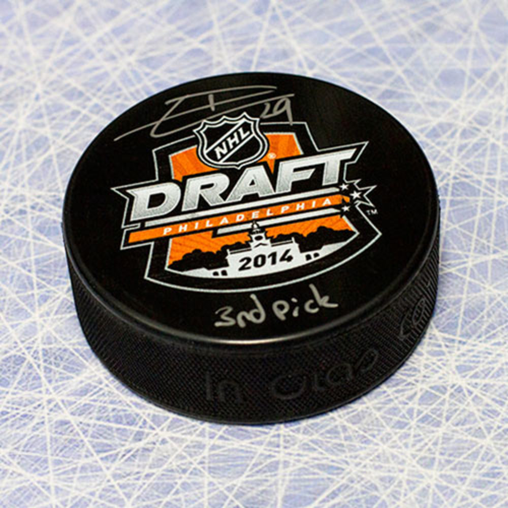 Leon Draisaitl 2014 NHL Draft Day Puck Autographed w/ 3rd Pick Inscription *Edmonton Oilers*