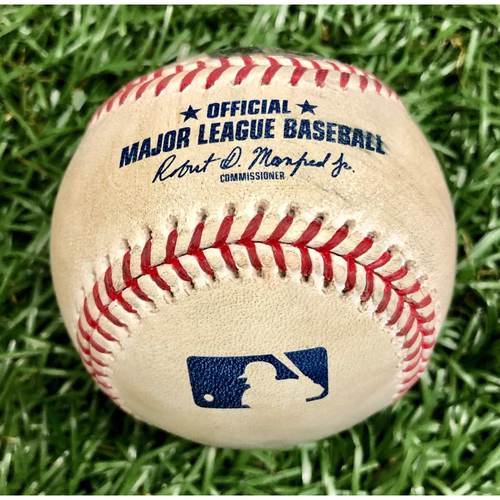 Photo of Game Used Baseball: Gleyber Torres Single off Pete Fairbanks - First 7-Inning DH at Tropicana Field - Game 2 - August 8, 2020 v NYY