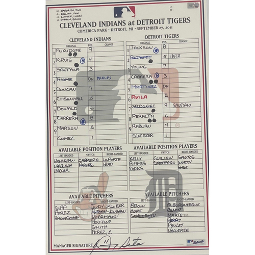 Photo of Game Used Lineup Card - 9/27/2011 Indians at Tigers