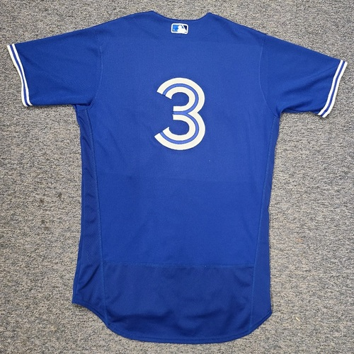 Photo of Authenticated Game Used Spring Training Jersey: #3 Jonathan Davis (Mar 28, 2021: 1-for-2 with 1 SB). Size 42.