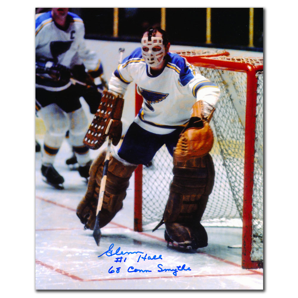 Glenn Hall St. Louis Blues 1968 Conn Smythe Autographed 8x10