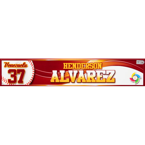Photo of 2013 WBC: Venezuela Game-Used Locker Name Plate - #37 Henderson Alvarez