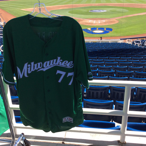 Photo of Corbin Burnes 2018 Team-Issued St. Patrick's Day Jersey