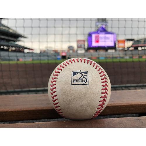 Photo of Colorado Rockies Game-Used Baseball - Hosmer - Walk and Pirela - Single - April 23, 2018