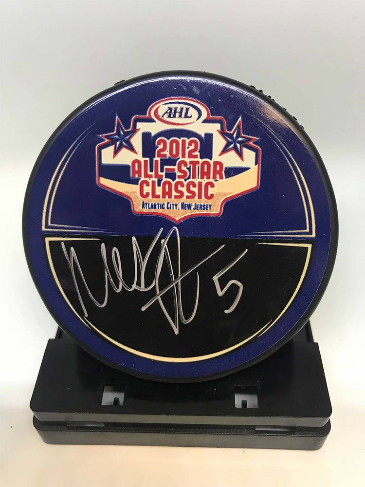 2012 AHL All-Star Classic Souvenir Puck Signed by #5 Mark Borowiecki