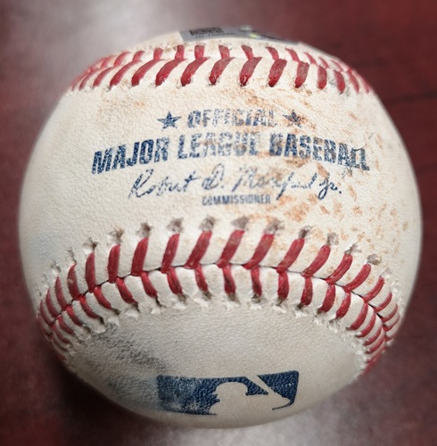 Photo of Authenticated Game Used Baseball - Jose Berrios Strikeout against Teoscar Hernandez. July 24, 2018 vs Minnesota Twins. Bottom 4.