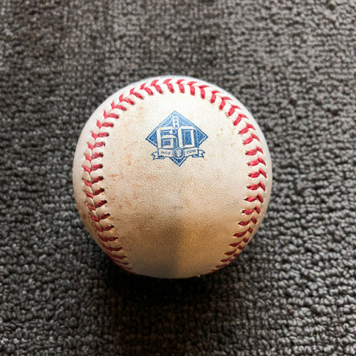 Photo of 2018 San Francisco Giants - Game-Used Ball - 60th Anniversary - Evan Longoria Singles to 3B off Drew Hutchison on 8/24/18