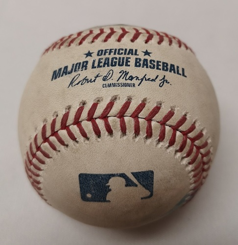 Photo of Authenticated Game Used Baseball - Lourdes Gurriel Jr. Double against Dan Otero (September 8, 2018 vs CLE). Bottom 6.