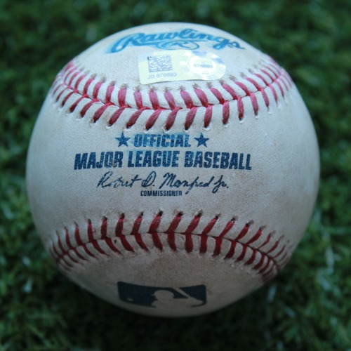 Photo of Game-Used Baseball: Brandon Lowe 56th Career Hit (TB @ KC - 4/29/19)