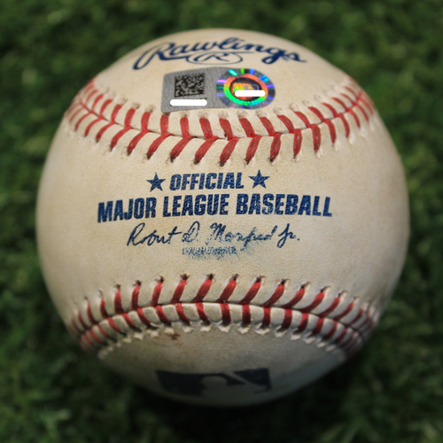 Photo of Game-Used Baseball: Danny Santana 306th Career Hit (TEX @ KC - 5/16/19)