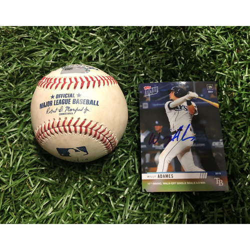 Game Used Autographed Baseball & Baseball Card:  Willy Adames WALK-OFF RBI single off Justin Shafer - May 29, 2019 v TOR