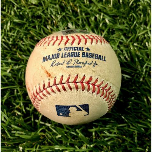 Photo of Game Used Baseball: Vladimir Guerrero Jr. foul ball off Charlie Morton - Vladimir Guerrero Jr. Rookie Season - September 7, 2019 v TOR