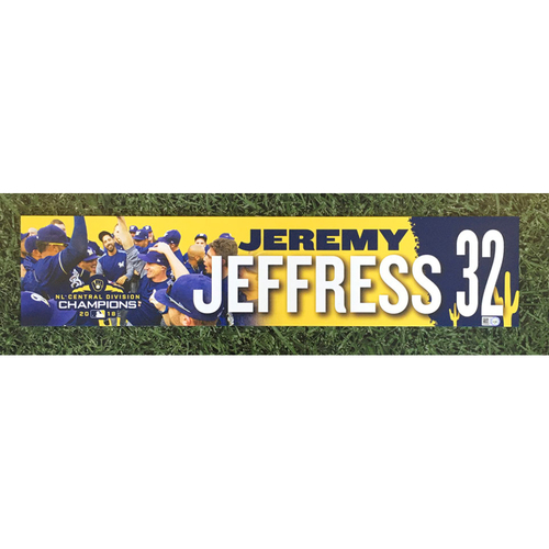Photo of Jeremy Jeffress 2019 Team-Issued Spring Training Locker Nameplate