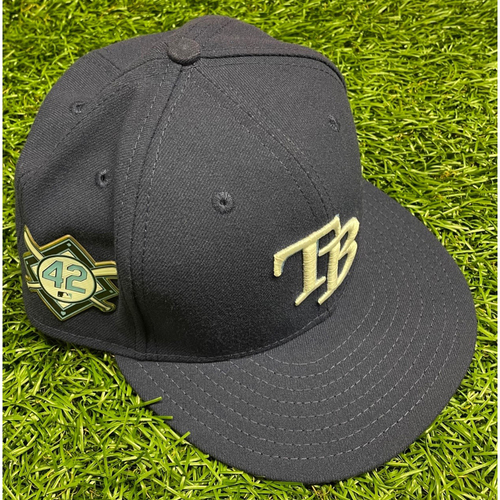 Photo of Game Used (2 Games) Jackie Robinson Day Cap: Trevor Richards #34 - August 28 & 30, 2020 at MIA
