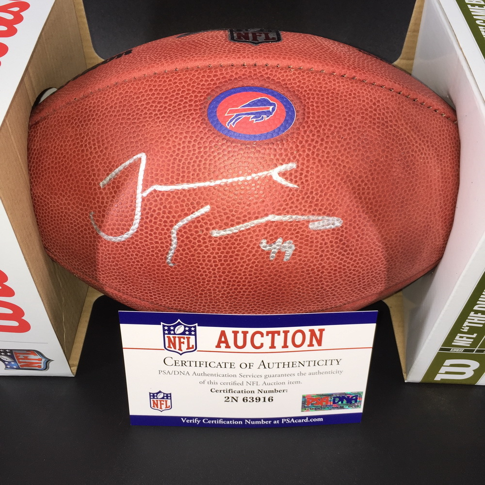 Bills - Tremaine Edmunds Signed Authentic Football w/ 100 Seasons and Bills Logo