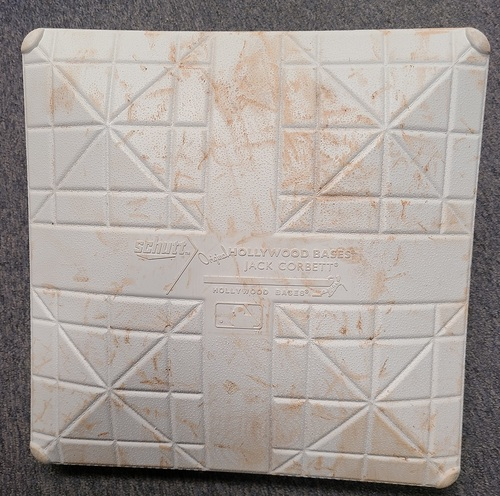 Photo of Authenticated Game Used Base: 3rd Base for Innings 4 to 6 (Aug 22, 2021 vs DET). In place for Miguel Cabrera's 500th Career Home Run.