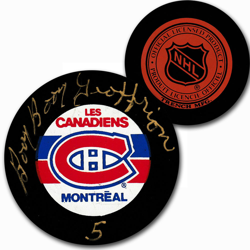 Bernie Geoffrion Autographed Montreal Canadiens Vintage Trench Puck