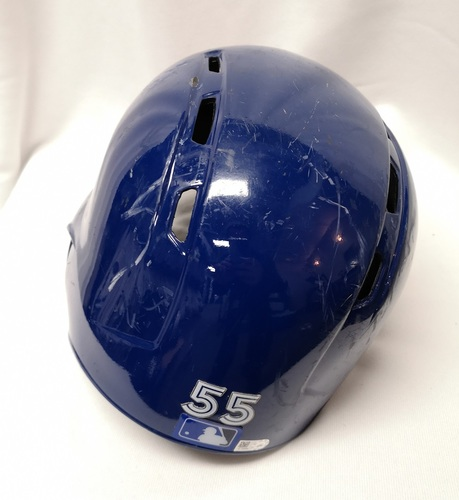 Photo of Authenticated Team Issued Helmet - #55 Russell Martin (2018 Season). Size 7 1/2.