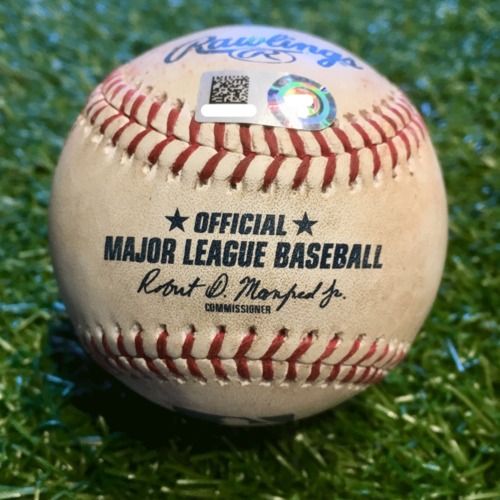 Photo of Game-Used Baseball: Wei-Chieh Huang 2nd Career Strikeout (TEX @ KC - 5/14/19)