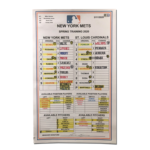 Photo of Team Issued Lineup Card - 2020 Spring Training - deGrom Makes Start - Mets vs. Cardinals - 3/11/20