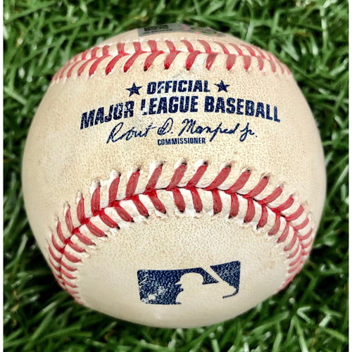 Photo of Game Used ALWC Game 1 Baseball: Teoscar Hernandez foul ball off Nick Anderson - Teoscar Hernandez First Career Postseason Game - September 29, 2020 v TOR