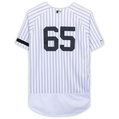 Photo of James Paxton New York Yankees Game-Used #65 White Pinstripe Jersey vs. Baltimore Orioles on March 30, 2019 - Yankees Debut - Size 48