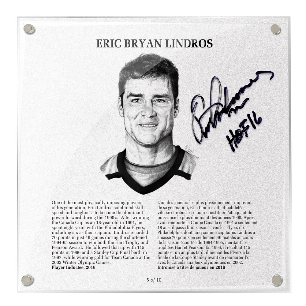 Eric Lindros Autographed Legends Line Honoured Member Plaque - Limited Edition 4/10