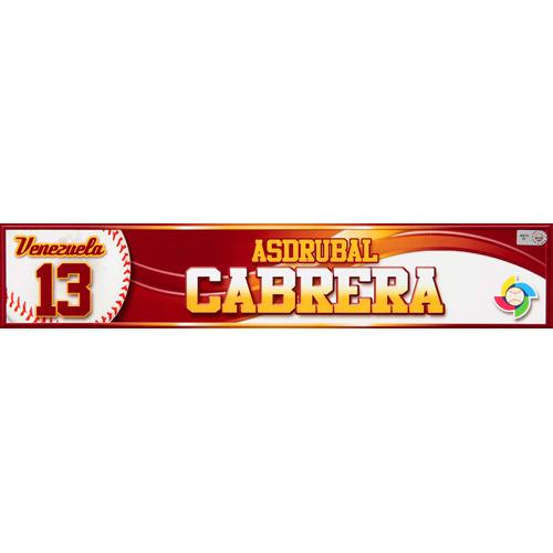 Photo of 2013 WBC: Venezuela Game-Used Locker Name Plate - #13 Asdrubal Cabrera