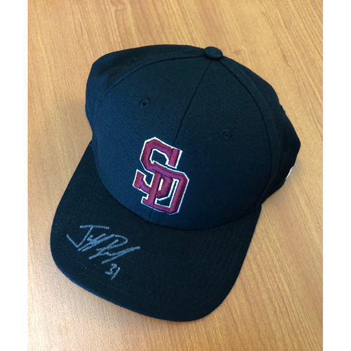 Photo of Jeff Pickler Autographed, Game-Worn Stoneman Douglas Eagles Cap