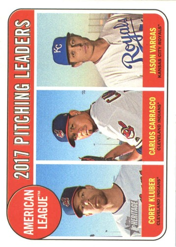 Photo of 2018 Topps Heritage #9 Jason Vargas/Carlos Carrasco/Corey Kluber LL