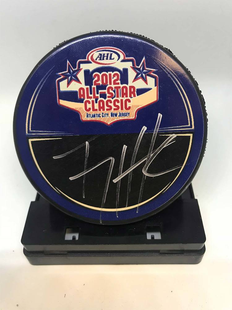 2012 AHL All-Star Classic Souvenir Puck Signed by #7 T.J. Hensick