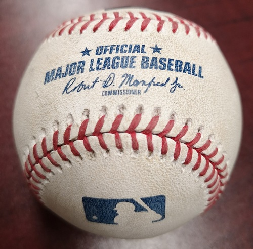 Photo of Authenticated Game Used Baseball - Single by Justin Smoak against Ervin Santana. July 25, 2018 vs Minnesota Twins. Bottom 5.