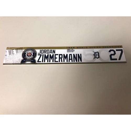 Photo of Game-Used 1968 World Series Champions 50th Anniversary Locker Name Plate: Jordan Zimmermann