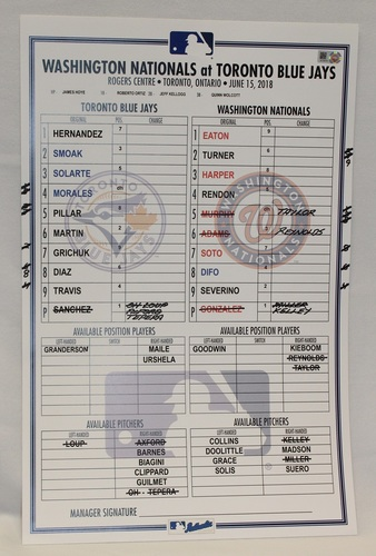 Photo of Authenticated Game Used Lineup Card - June 15, 2018 vs Washington Nationals: Yangervis Solarte had 2 Home Runs