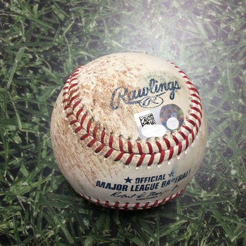 Photo of Game-Used Baseball PHI@MIL 06/16/18 - Jorge Lopez - Rhys Hoskins: Single