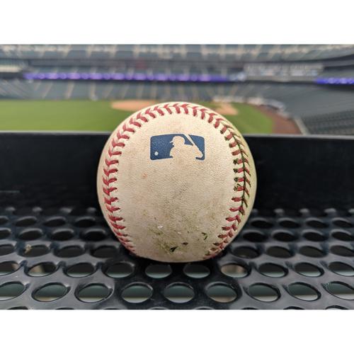 Photo of Colorado Rockies Game-Used Baseball Bettis v. Freese - RBI Double (2) to Blackmon, Seager scores - April 7, 2019
