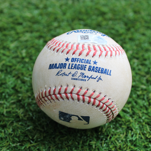 Photo of Game-Used Baseball: Leonys Martin 582nd Career Hit (CLE @ KC - 4/14/19)