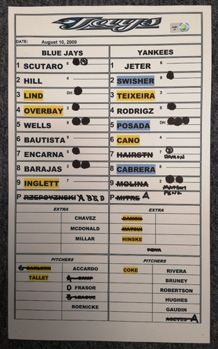 Photo of Authenticated Game Used Lineup Card - August 10, 2009 at NYY: Home Runs by Derek Jeter and Robinson Cano