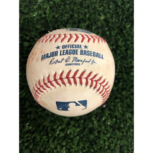 Photo of Austin Riley Game Used Hit Single Ball - 18th Career Hit  - 5/28/2019