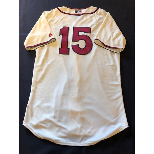 Photo of Nick Senzel -- Game-Used 1935 Throwback Jersey (Starting CF: Foul Ball Hits Senzel in Face) -- Rangers vs. Reds on June 15, 2019 -- Jersey Size 46