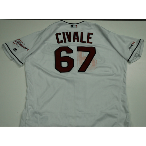 Photo of Aaron Civale 2019 Team Issued Home White Jersey